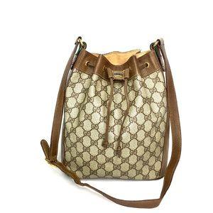 Authentic Gucci brown monogram bucket shoulder bag